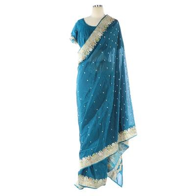 Metallic Floral Embroidered Deep Teal Silk Choli and Saree