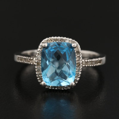10K Topaz and Diamond Halo Ring