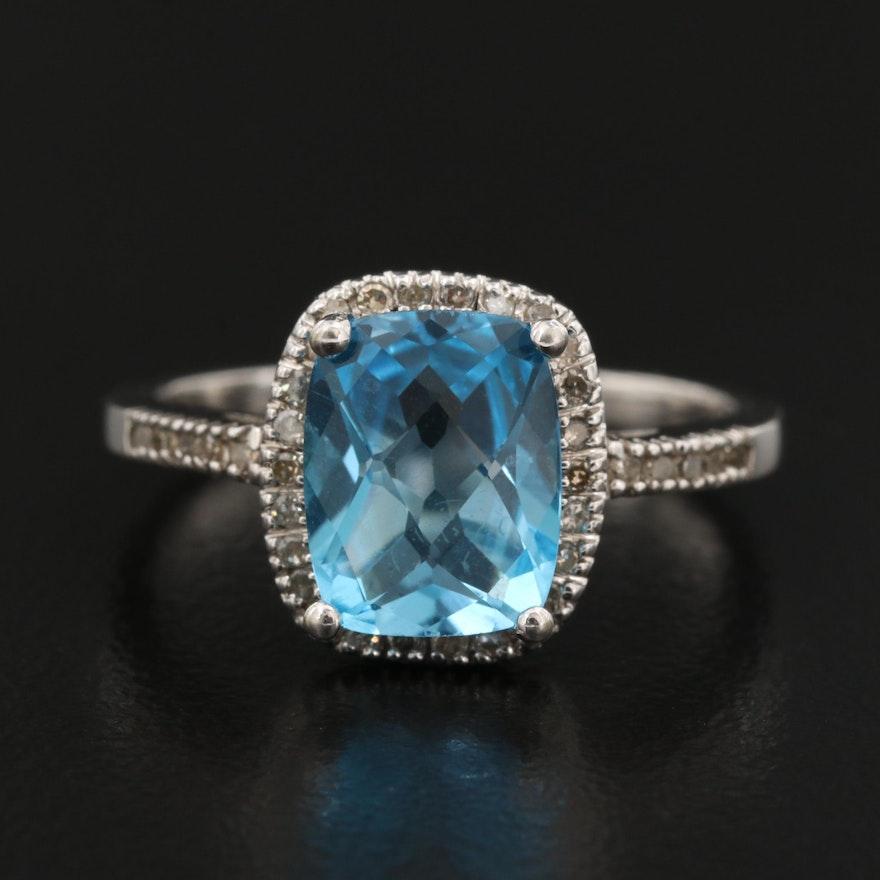 10K Topaz and Diamond Halo Ring