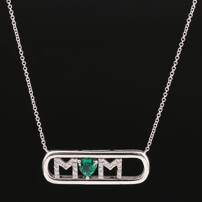 """Sterling Silver Emerald and Sapphire Sliding '""""Mom"""" Necklace"""