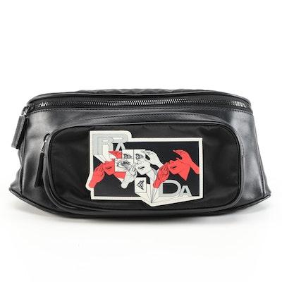 Prada Comic Belt Bag in Black Leather and Tessuto