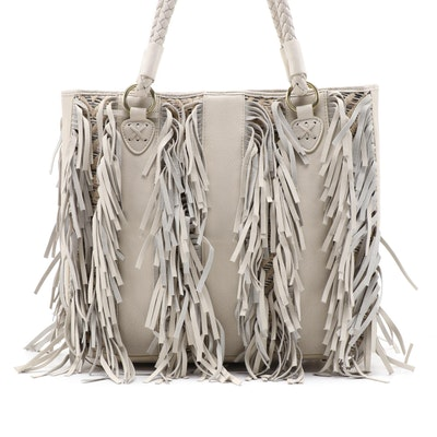 CHI by Carlos Falchi Fringe and Woven Leather Tote Bag