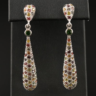 Sterling Silver Sapphire and Diopside Dangle Earrings