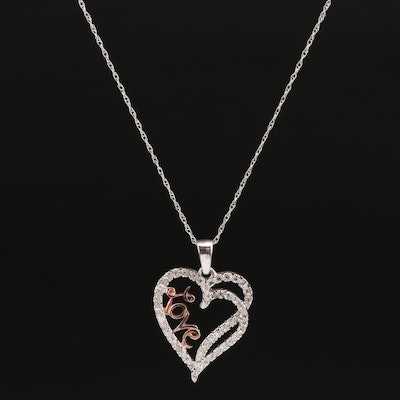 "Sterling Silver Diamond ""Love"" Heart Pendant on 10K Singapore Chain Necklace"