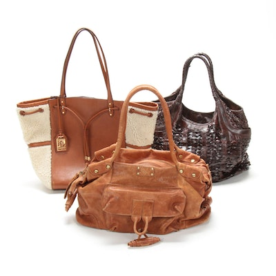Ralph Lauren Leather and Shearling Tote with Other Leather Handbags