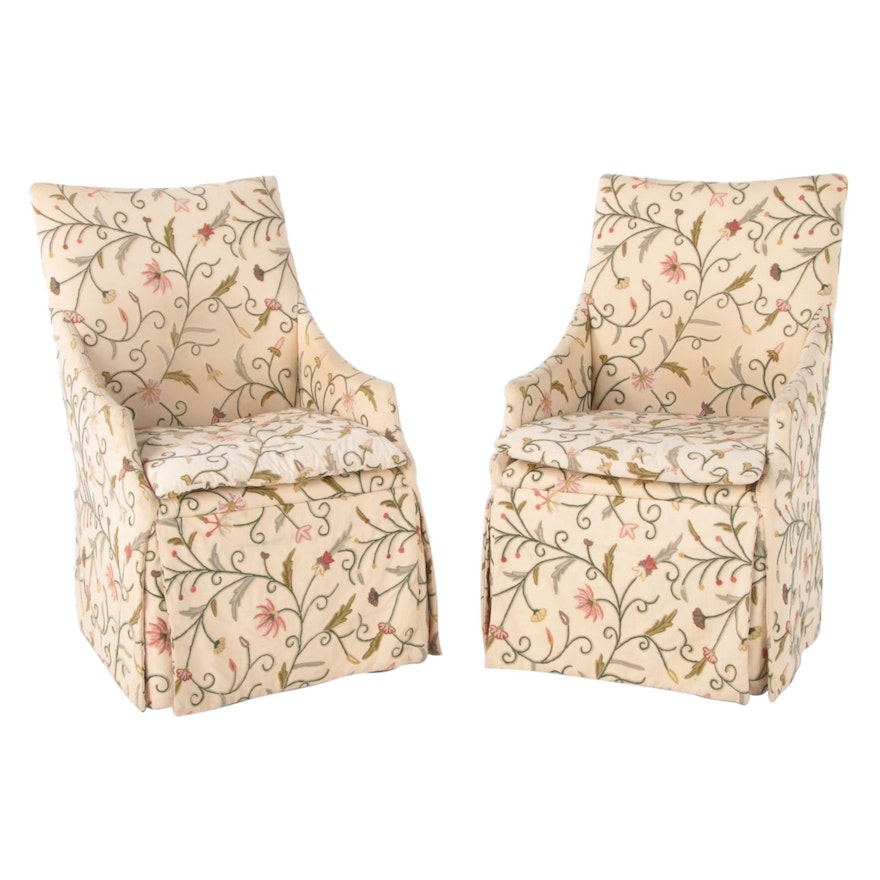 Pair of Lee Furniture Crewel Upholstered Armchairs on Casters