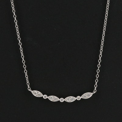 10K Diamond Necklace with Milgrain Detailing