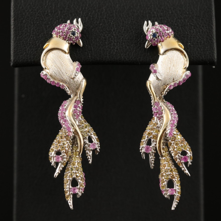 Sterling Silver Ruby and Citrine Bird Earrings