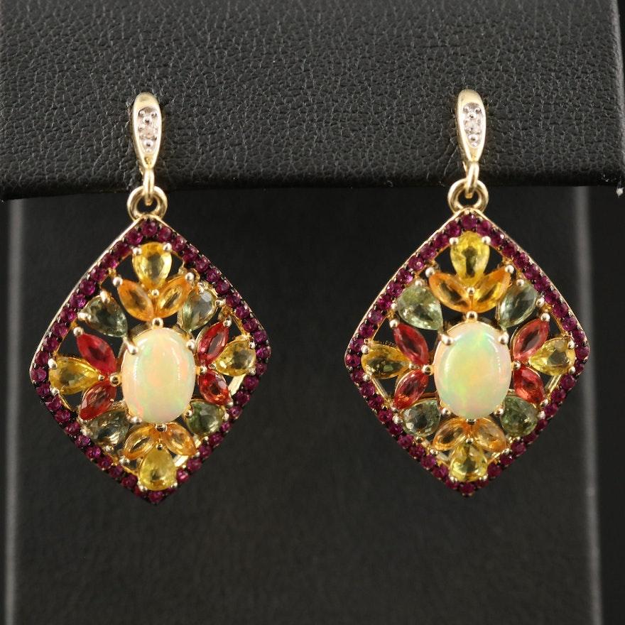 Sterling Silver Opal, Sapphire and Ruby Dangle Earrings