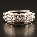 14K Diamond Band with Scroll Detailing