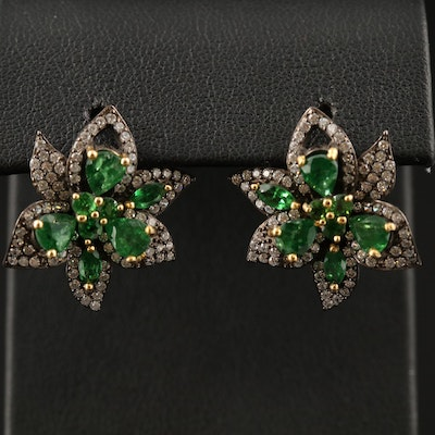 Sterling Diopside and Cubic Zirconia Flower Earrings