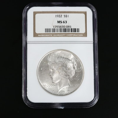 NGC Graded MS63 1922 Peace Silver Dollar