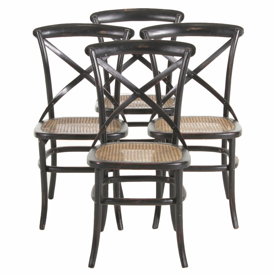 Four Palecek Painted Wood and Cane Side Chairs, Late 20th Century