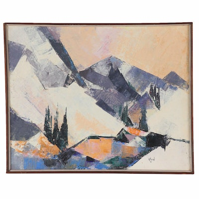 "Abstract Mountain Landscape Oil Painting ""High Country"", 1961"