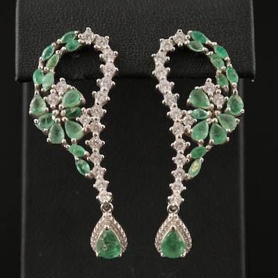 Sterling Silver Emerald and Cubic Zirconia Drop Earrings