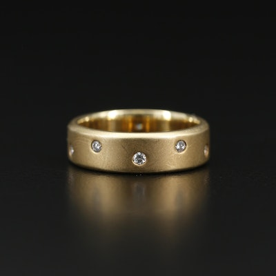 14K Diamond Band with Satin Finish