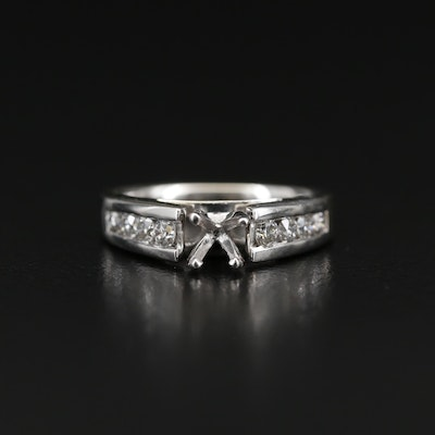 14K Diamond Cathedral Semi-Mount Ring with Channel Set Shoulders