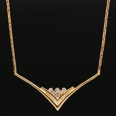 14K Chevron Necklace with Diamond Accents