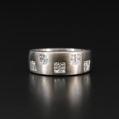 14K Princess Cut Diamond Brushed Band