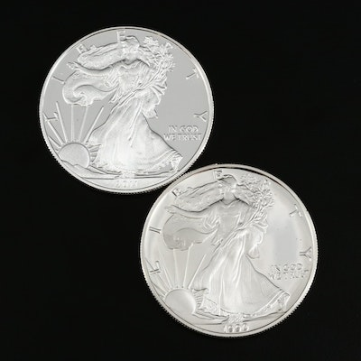 1990-S and 2011-W American Silver Eagle Proof Bullion Coins