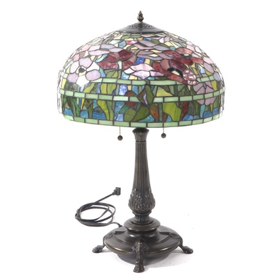 Art Nouveau Style Patinated Cast Metal Table Lamp with Slag Glass Shade