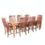 Ethan Allen Cherry Wood Dining Table and Eight Chairs with Leaf Inserts