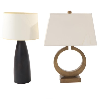 Visual Comfort & Co. Brass Ring Table Lamp and Other Espresso Table Lamp