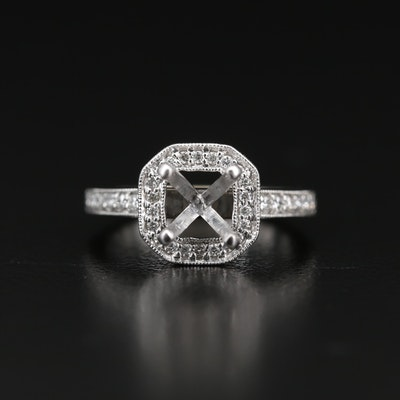 14K Diamond Semi Mount Ring with European Shank