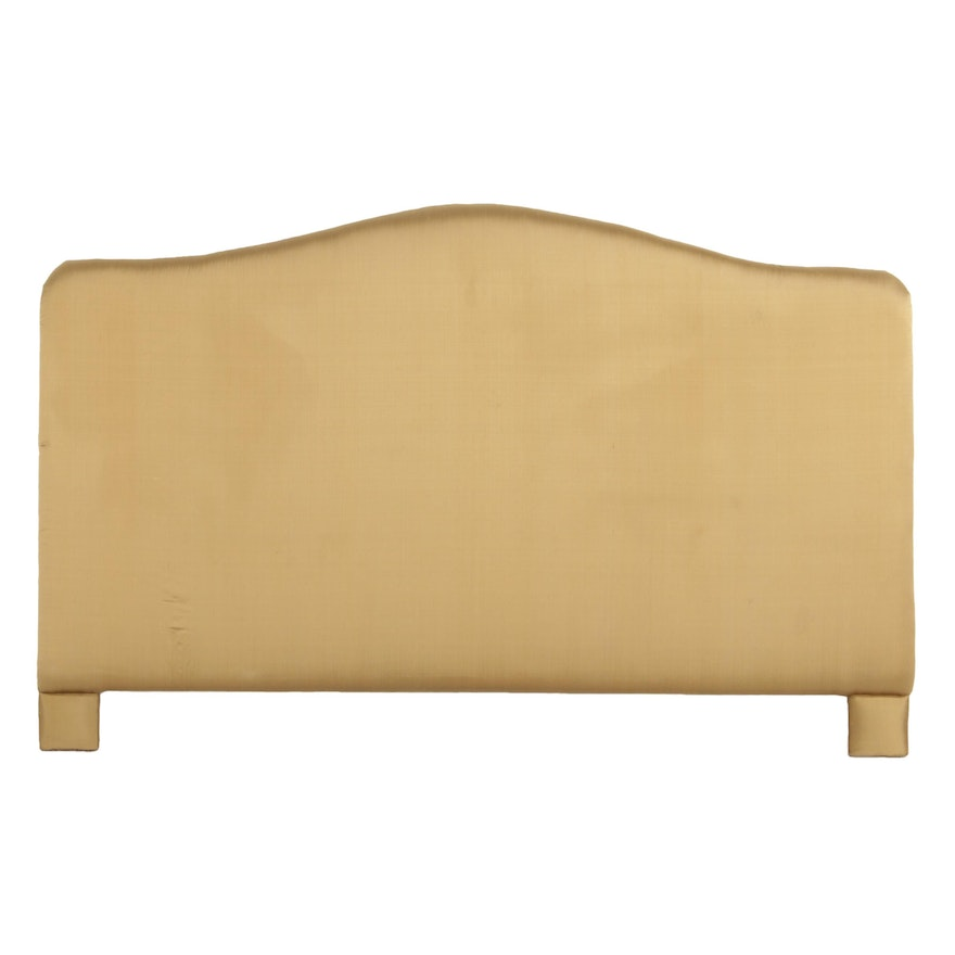 King Sized Gold Satin Upholstered Headboard, Late 20th Century