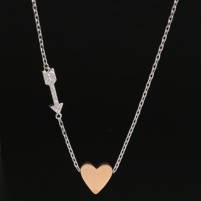 Fossil Heart and Rhinestone Arrow Slide Necklace