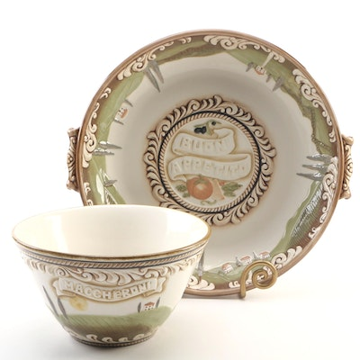 Grassland Road Large Ceramic Display Plate with Stand and Matching Bowl