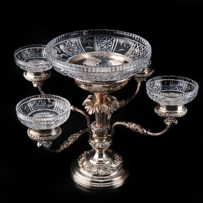 Silver Plate and Glass Centerpiece Epergne, Late 19th to Early 20th Century