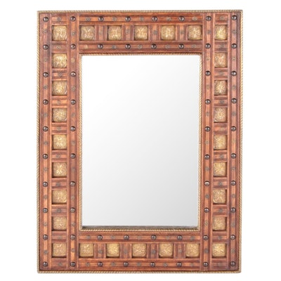 Coffered Wood Wall Mirror