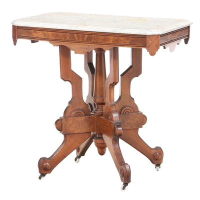 Victorian Walnut, Burl Walnut, and White Marble Side Table, Late 19th Century