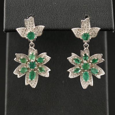 Sterling Silver Emerald and Cubic Zirconia Flower Drop Earrings