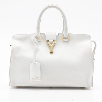 Yves Saint Laurent Classic Cabas Y Bag in White Calfskin Leather