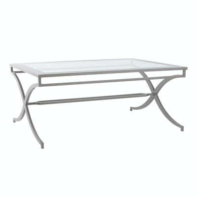 Contemporary Glass Top Metal Coffee Table