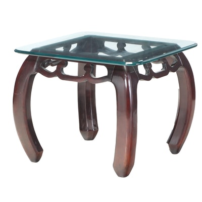 Chinese Style Dark Brown-Finished and Glass Top Side Table, Late 20th Century