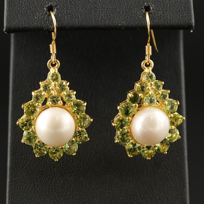 Sterling Silver Pearl Earrings with Peridot Accents