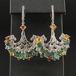 Sterling Silver Emerald, Sapphire and Cubic Zirconia Foliate Dangle Earrings