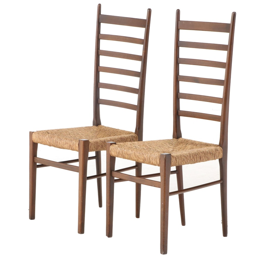 Gio Ponti Style Mid Century Modern Walnut Rush Seat Ladderback Side Chairs