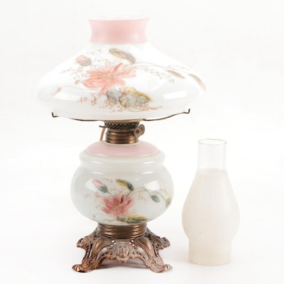 Hand-Painted Milk Glass Converted Oil Lamp