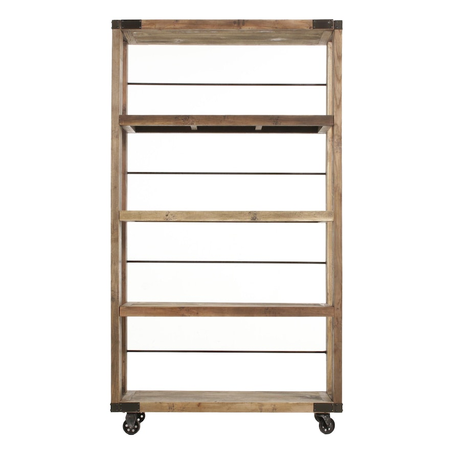 Industrial Style Rustic Scrubbed Pine Rolling Shelves