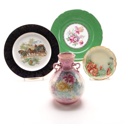 Royal Bonn Vase and Decorative Plates, Late 19th to Mid 20th Century