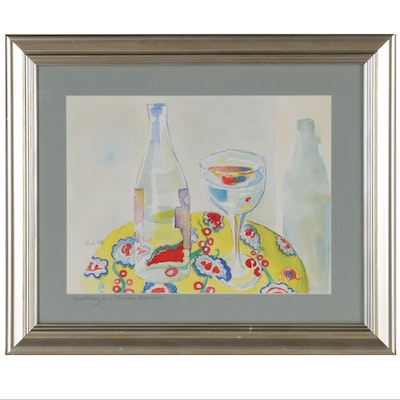"Watercolor Painting ""Chardonnay on a Thursday Afternoon"", Late 20th Century"
