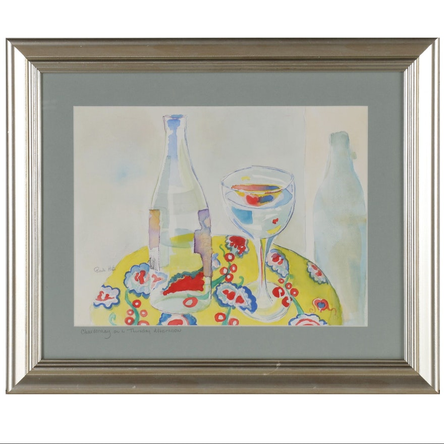 """Watercolor Painting """"Chardonnay on a Thursday Afternoon"""", Late 20th Century"""