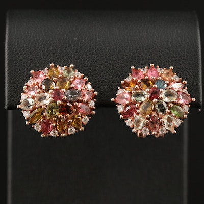 Sterling Silver Tourmaline and Cubic Zirconia Button Earrings