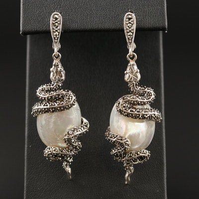Sterling Silver Mother of Pearl and Marcasite Snake Dangle Earrings