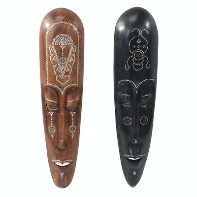 Asian Hand-Carved Wooden Wall Masks with Mother of Pearl and Coin Details