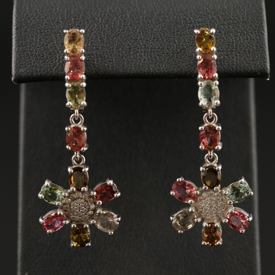Sterling Silver Tourmaline and Cubic Zirconia Floral Drop Earrings